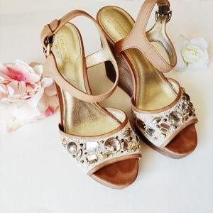Coach Hanson Wedge Jewel Embellished Sandal